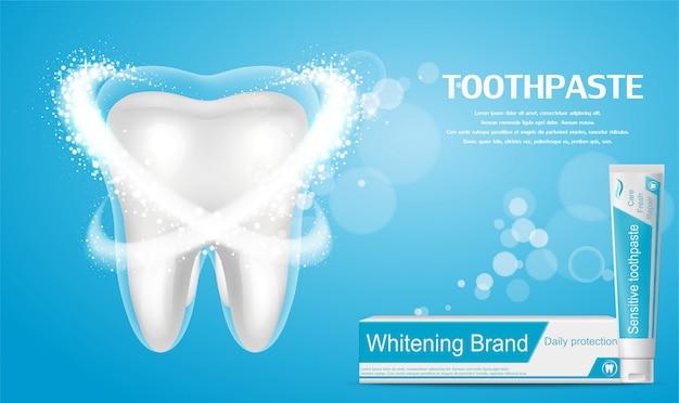 Anúncio de creme dental branqueador. dente saudável grande no fundo azul.