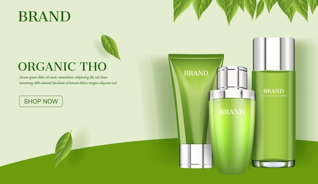 Anúncio de cuidados da pele, produto cosmético com modelo de folhas verdes