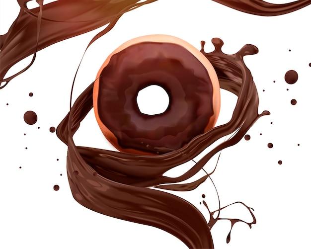 Anúncio de donut de chocolate com molho rodopiante, ilustração 3d