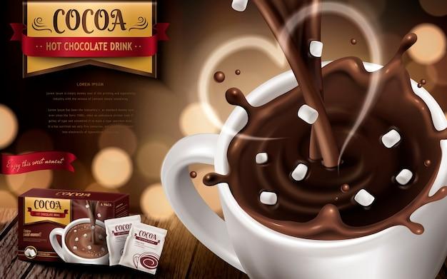 Anúncio de drk de chocolate quente, com pequenos marshmallows, fumaça em forma de coração e fundo desfocado