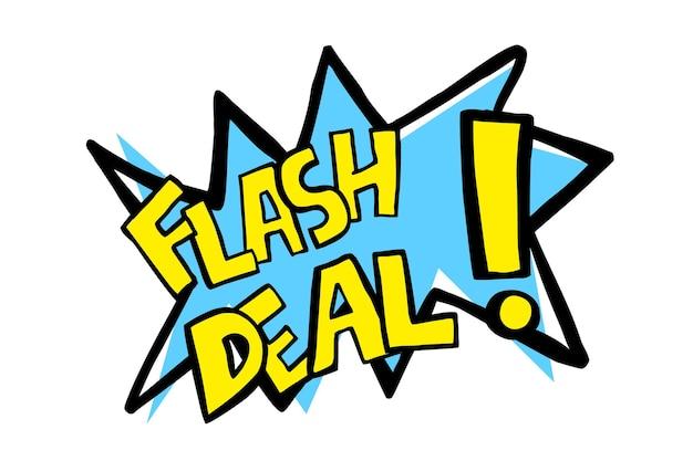 Anúncio de esboço de desenho à mão em vetor, venda instantânea, azul e amarelo isolado no branco