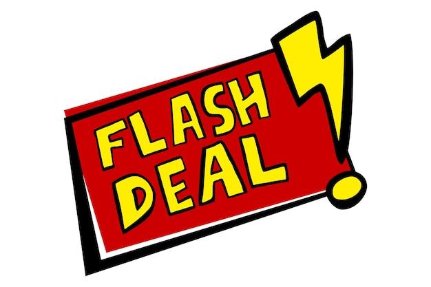 Anúncio de esboço de desenho à mão em vetor, venda instantânea, vermelho e amarelo isolado no branco