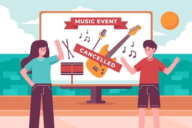 Anúncio de eventos cancelados ilustrado