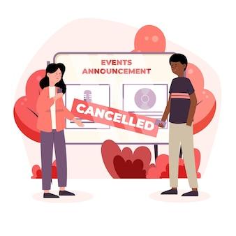 Anúncio de eventos cancelados