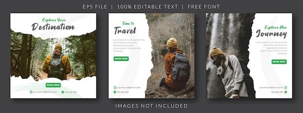 Anúncio de feed de mídia social de viagens