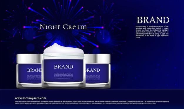 Anúncio de frasco de creme noturno em fogos de artifício