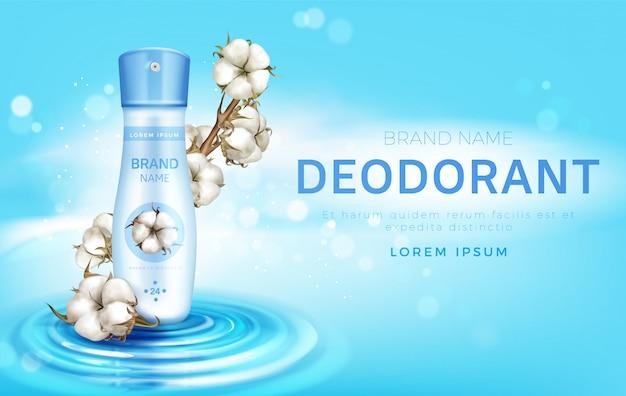 Anúncio de frasco de spray antitranspirante desodorizante de algodão