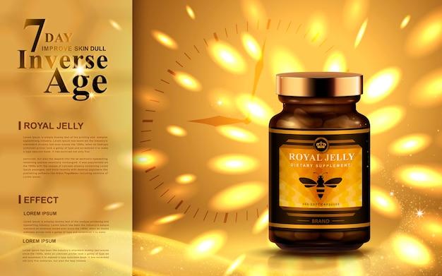 Anúncio de geléia real com luzes douradas brilhantes, fundo de relógio
