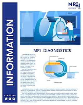 Anúncio de imagem de ressonância magnética e banner de infográficos. pesquisa e diagnóstico médico. construção moderna do scanner tomográfico. contra-indicações de ressonância magnética. doutores. conjunto