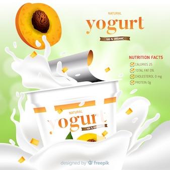 Anúncio de iogurte de pêssego delicioso