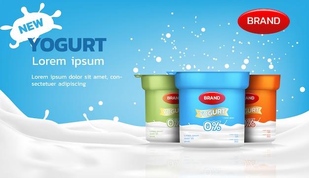 Anúncio de iogurte, iogurte saudável com salpicos de leite