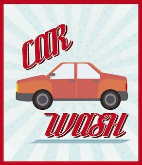 Anúncio de lavagem de carro com ilustração vetorial de estilo vintage