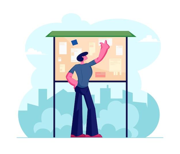 Anúncio de leitura de morador de megápolis jovem colado no quadro de avisos de pé na rua com plano de fundo de vista da cidade. ilustração plana dos desenhos animados