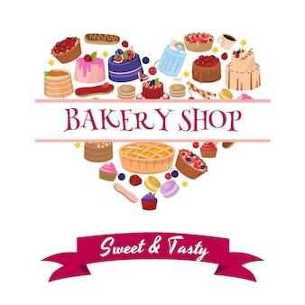 Anúncio de loja de padaria com composição de sobremesa