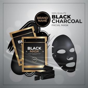 Anúncio de máscara de folha de carvão de estilo realista
