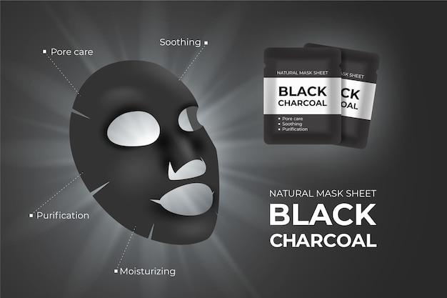 Anúncio de máscara de folha de carvão realista