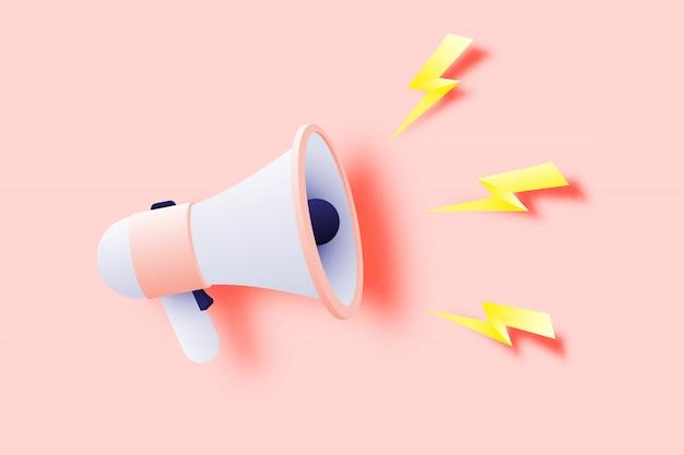Anúncio de megafone com estilo de arte de papel