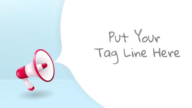 Anúncio de megafone com ilustração vetorial de estilo de arte em papel e esquema de cores pastel