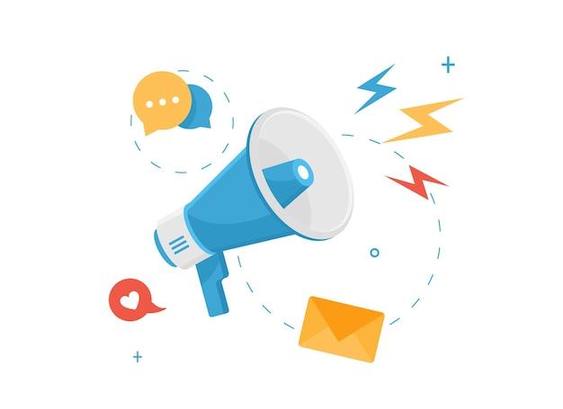 Anúncio de megafone para mídia social e rede em design plano