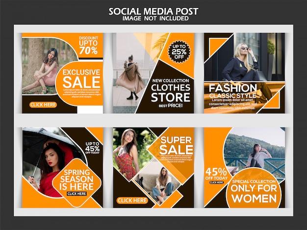 Anúncio de moda post de mídia social