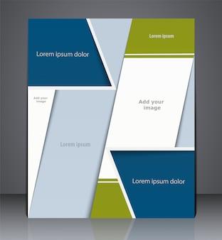 Anúncio de modelo de design de brochura, capa de revista, web ou design corporativo nas cores azul e verde