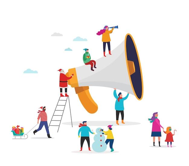 Anúncio de natal, feliz natal, feliz ano novo, banner de venda com cena de pessoas em miniatura