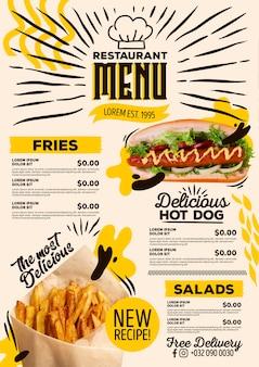 Anúncio de nova receita do menu do restaurante
