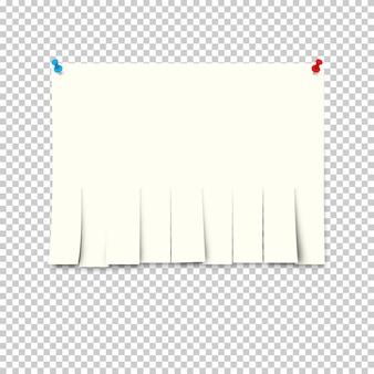 Anúncio de papel com papéis destacáveis no fundo transparente.