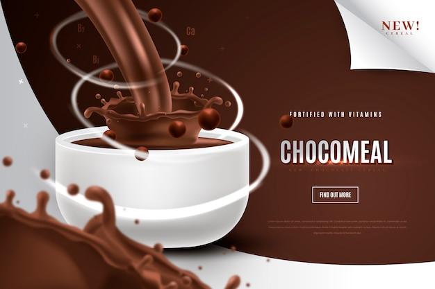 Anúncio de produto alimentar para refeição matinal de chocolate