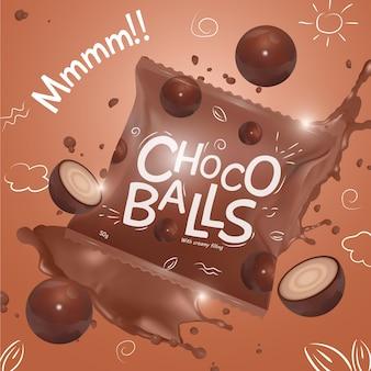Anúncio de produto alimentício de sobremesa de bolas de chocolate