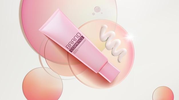Anúncio de produto cosmético com discos de círculo transparente mockup 3d illustration