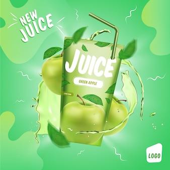 Anúncio de produto de bebida de suco de maçã verde