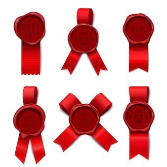 Anúncio de produto de carimbo de cera com seis imagens isoladas com diferentes formas de fita vermelha e selo