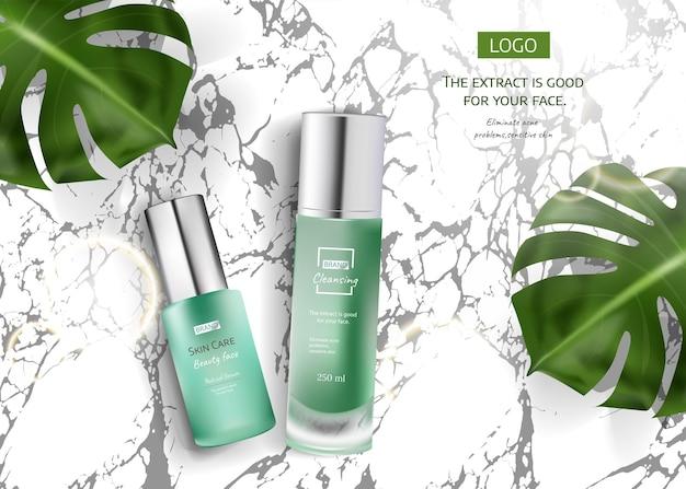 Anúncio de produto para cuidados com a pele com folhas tropicais em fundo de pedra de mármore na ilustração de maquete, vista superior