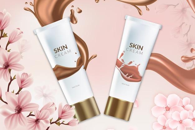 Anúncio de produtos cosméticos saudáveis para creme para a pele