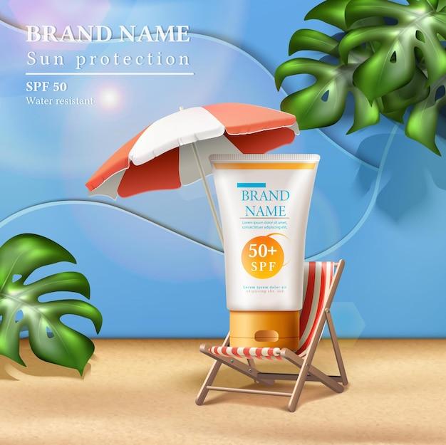Anúncio de proteção solar de verão com frasco de creme no solário sob o guarda-sol com raios de sol e folhas tropicais