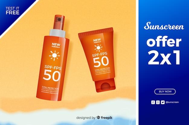 Anúncio de protetor solar em estilo realista