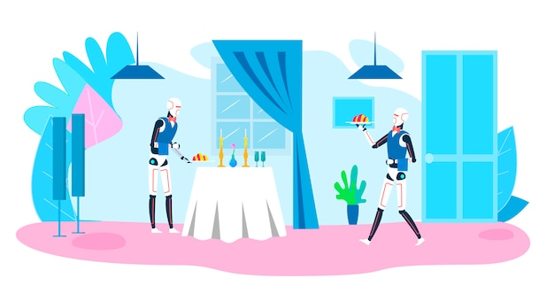 Anúncio de serviço de restaurante e sistemas robóticos