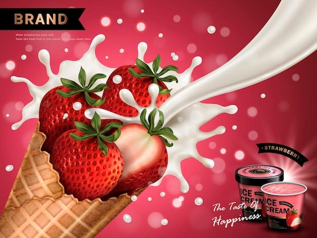 Anúncio de sorvete com sabor de morango, fundo vermelho isolado