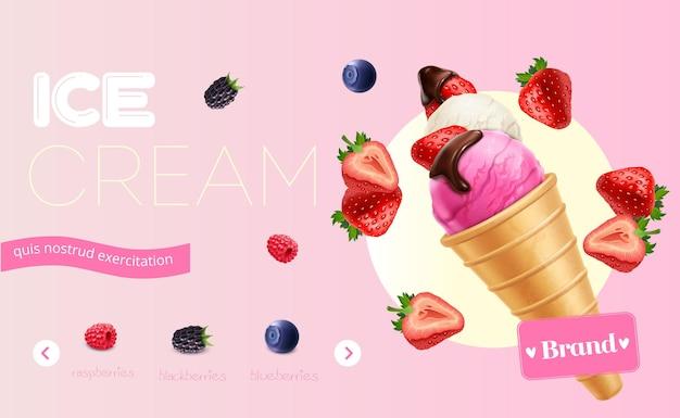 Anúncio de sorvete delicioso com frutas frescas