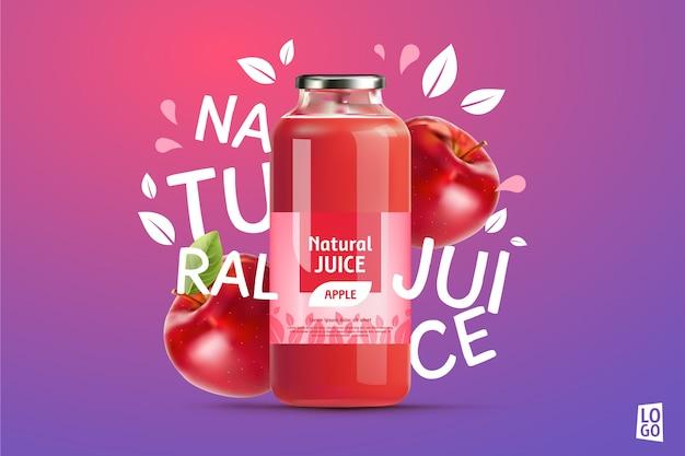 Anúncio de suco de maçã com gradientes e letras