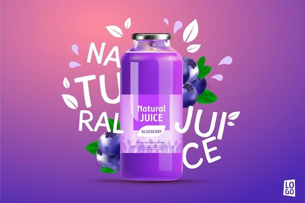 Anúncio de suco de mirtilo com gradientes e letras