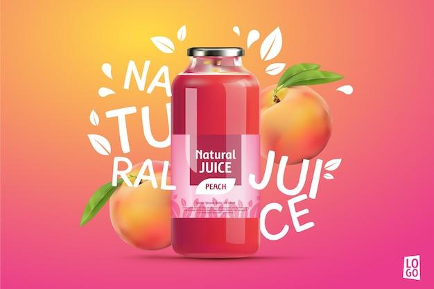 Anúncio de suco de pêssego com gradientes e letras