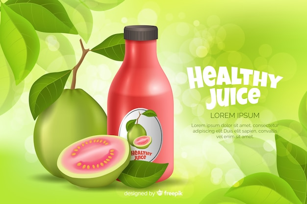 Anúncio de suco natural em estilo realista