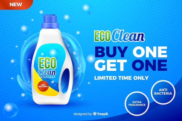 Anúncio de venda de detergente de roupa realista