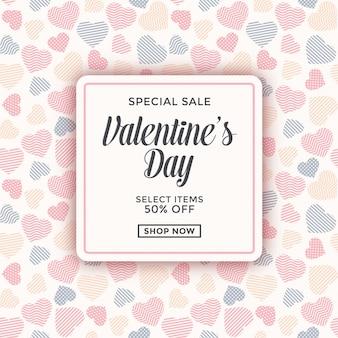Anúncio de venda de dia dos namorados com padrão de coração pastel
