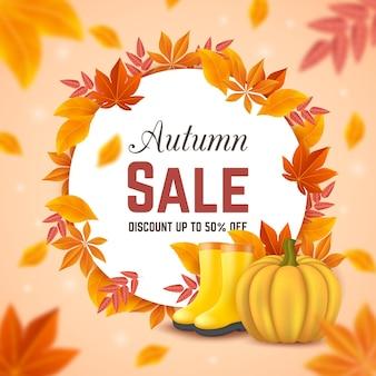 Anúncio de venda de outono ilustrado