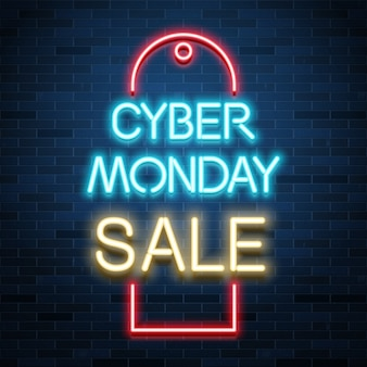 Anúncio de venda segunda-feira cibernética, texto realista de néon brilhante