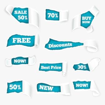 Anúncio de vendas de cachos de papel rasgado criativo expondo preços com desconto em buracos