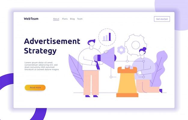 Anúncio de vetor e banner de página da web de estratégia de marketing
